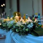 Aranjament floral prezidiu hortensie frezii crin estoma Unique Moments Iasi