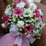 Aranjament floral lumanare botez rotunda din eustoma lalale tull accesorii Unique Moments 2011