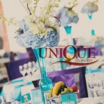 Aranjamente florale-Decor floral botez cu hortensie albastra orhidee trandafiri