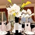 Aranjamente florale-Decor nunta alb negru