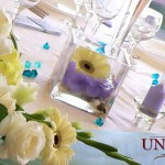 Boluri cu hortensie albastra si gergere elemente decorative lumanari botez baietel Unique Moments