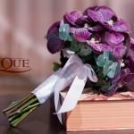Buchet cununie civila Orhidee vanda mov