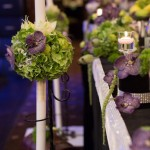 Lumanari nunta hortensii cu orhidee