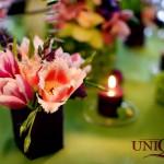 Aranjament floral lalele roz santini phalaenopsis Motel Bucium Iasi