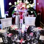 Aranjament floral orhidee roz si lalele albe cristale Repetitie pentru Nunta Bucium 2011
