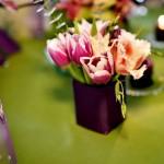 Carduri masa nunta Motel Bucium lalele roz mov