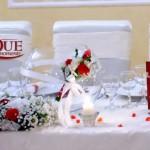 Masa prezidiu aranjamente anthurium eustoma bol sticla cu buchet pentru dar nunta