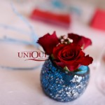 Aranjament floral nunta trandafiri rosii turquoise