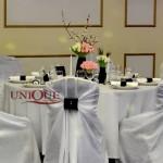 Decor nunta tafta alba cu catifea navy Astoria Iasi