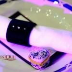 Inel din catifea navy cu strasuri pentru servetel masa meniu nunta personalizat marturie caseta bijuterii Astoria Unique Moments