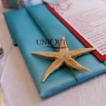 Servetel panza turquoise meniu nunta stelute de mare decor masa rosu turquoise 2012